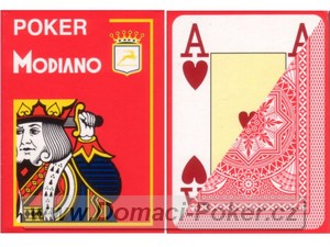 Modiano 100% Plast Poker Cristallo Jumbo Index - červené
