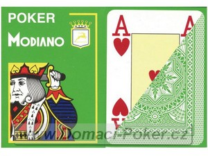 Modiano 100% Plast Poker Cristallo Jumbo Index - světle zelené