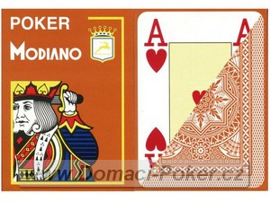 Modiano 100% Plast Poker Cristallo Jumbo Index - hnědé